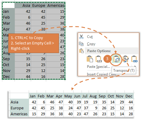 Transpose data in Excel with Paste Special Transpose