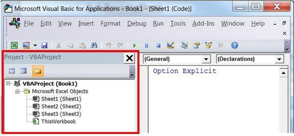 VBA Editor and Project Explorer