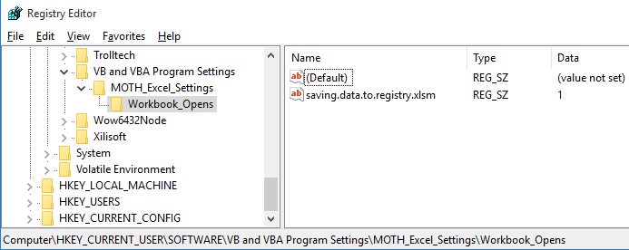 Registry entry showing the number of times workbook opened