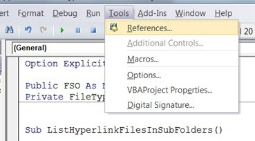 Tools, References in VBA Editor