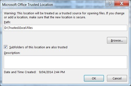 Add subfolders as trusted location