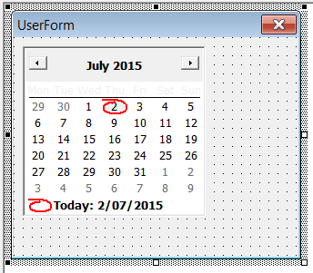 Userform with MonthView control