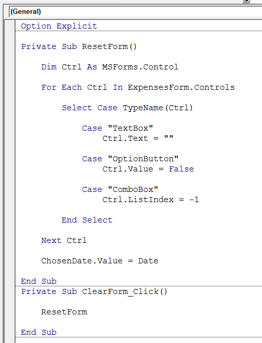 Clear form VBA code