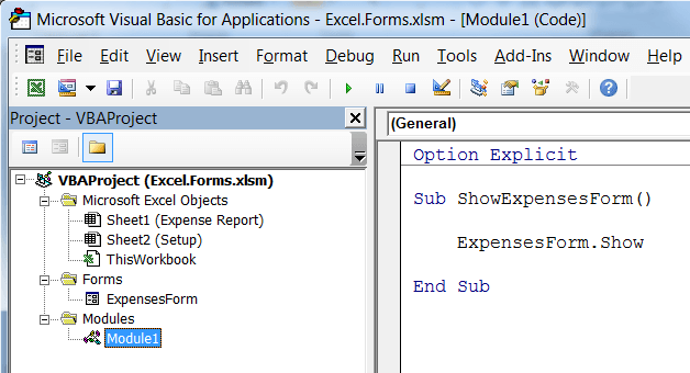 VBA to show the form